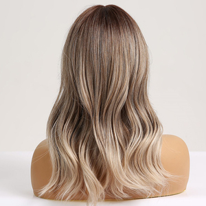 Image 3 - ALAN EATON Synthetic Hair Wig Ombre Brown Light Ash Blonde Medium Wave Wig for Black Women Heat Resistant Fiber Daily False Hair