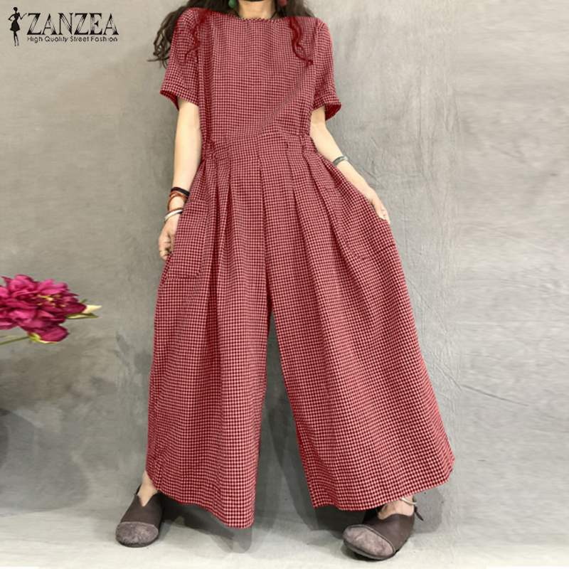 ZANZEA Women Rompers Summer Wide Leg Overalls Vintage Plaid Short Sleeve Jumpsuits Casual Back Zip Playsuits Plus Size Trousers