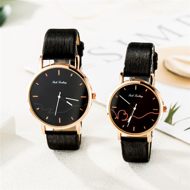 Couples Casual Leather Strap Wristwatch Set 1