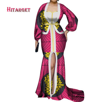2020 new african maxi dashiki dress for women long-sleeves floor-length party long dress plus size mermaid lady dress WY6136