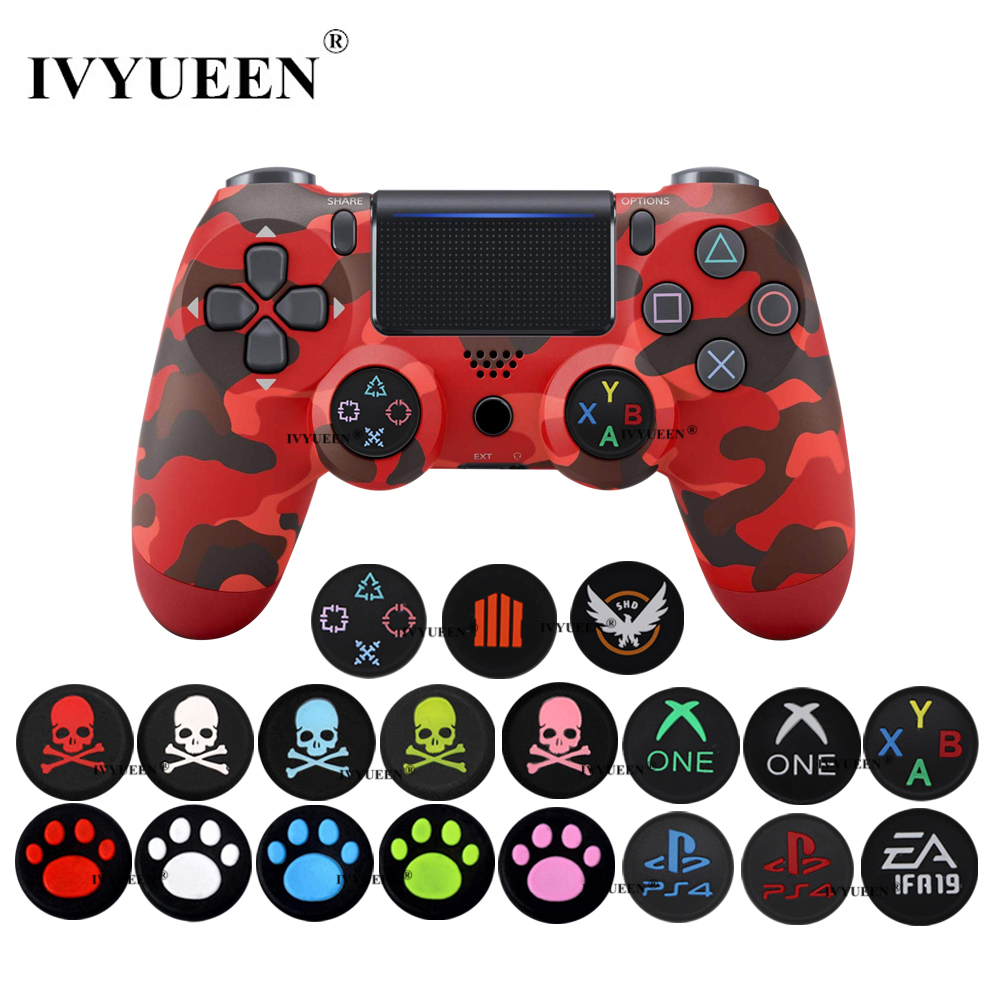 IVYUEEN 2 Pcs Skull Silicone Analog Thumb Grips For Sony PlayStation 4 PS4 Pro Slim Controllers Caps Cover For X Box One X / S
