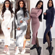 Neck High Fabric Sweater Dress Sexy Split Long Sleeve Woman Autumn Winter Slim Solid Maxi Dresses Bodycon YXBD56