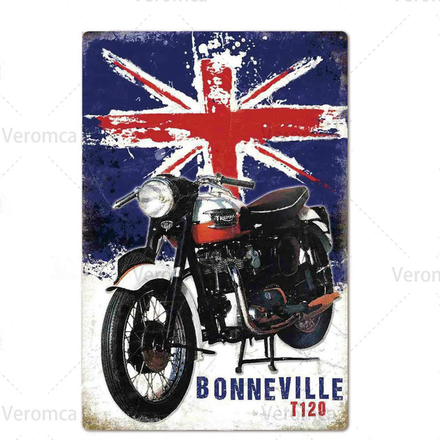 Route 66 MOTORCYCLE Red Retro Tin Plate 6