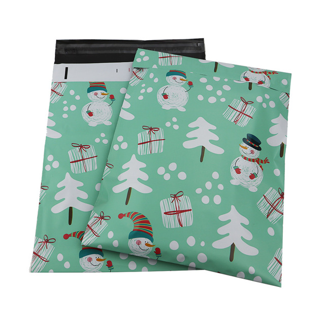 100pcs 25.5x33cm 10x13 inch Blue snowman pattern Poly Mailers self styled plastic envelope bag / snowman pattern gift bags