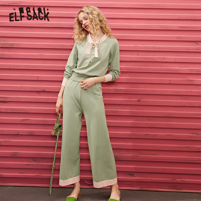 ELFSACK Green Solid Pearls Button Knit Women Two Piece Sets 2020 Spring Pure Elastic Waist Korean Casual Ladies Daily Suits