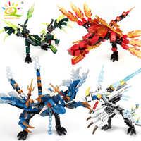 HUIQIBAO 115 Uds. Dragón Ninja Knight modelo bloques de construcción KAI JAY ZANE figuras hombre ladrillos juguetes para niños niño amigos regalo