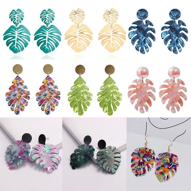 Feminino tropical monstera folha brincos de acrílico brincos de gota para mulher na moda boho jóias