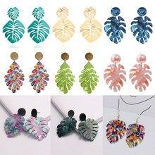 Женские серьги с тропическими листьями монстеры, массивные акриловые Висячие серьги для женщин, модные ювелирные изделия в стиле бохо