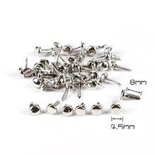 Scrapbooking Brads Round WD0033-6 200PCS Spike-Studs Rivets Spots-Cone Punk-Bag Silver-Tone