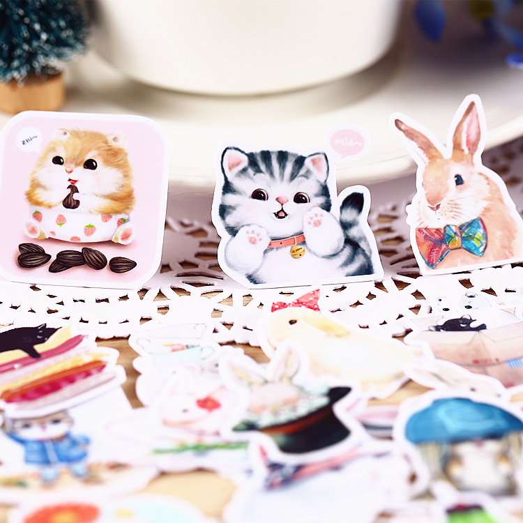 35 PCS Cute Little Animal Paper Stickers Crafts And Scrapbooking Stickers Kids Toys Book Decorative Sticker DIY Stationery