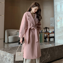 цены Women Wool Coat Women Jacket Loose Long Breasted Woolen Coat Winter Coat Woolen Overcoat