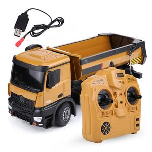 Huina 1573 RC Dumping Truck 1:14 2.4GHz 10CH Remote Control Dump Self-discharging Engineering Truck LED Light RC Car Toy