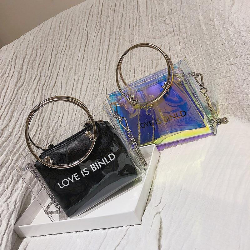 Women/Jelly Transparent Bag 2019 Messenger Handbag Chain/Luxury/High Quality