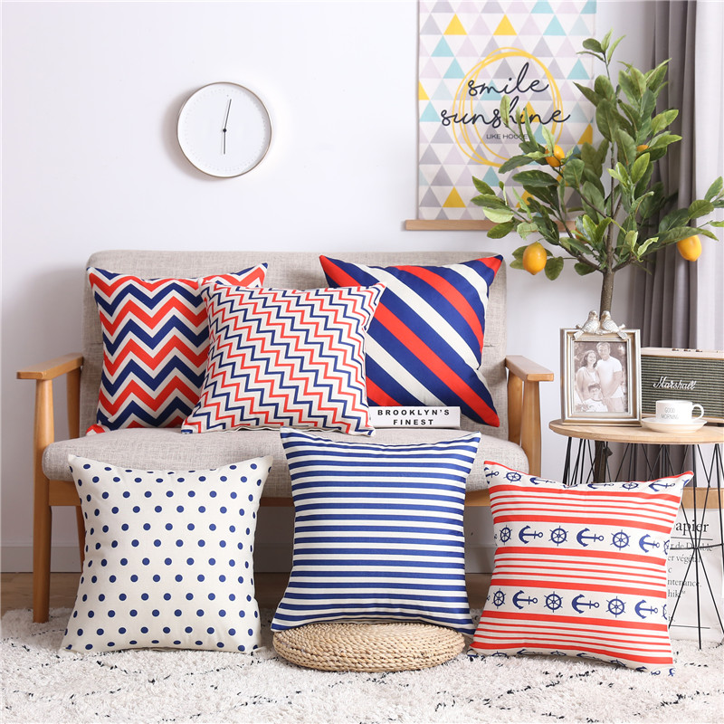 Stripes Wave Dot Geometric Pillow Cushion Cover Sofa Decorative Cotton Line Throw Pillowcase Funda Cojin Nordic Home Decoration