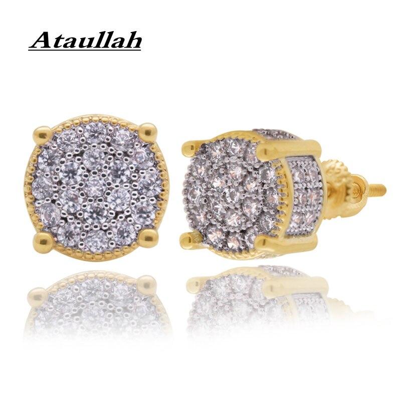 Ataullah Hip Hop Punk boucle d'oreille ronde brillant plein cristal boucles d'oreilles or argent couleur 3A zircon cubique pour femme et hommes EW065