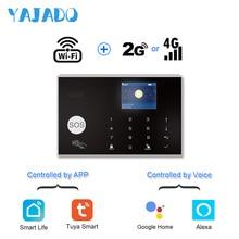 цена на YAJADO Android&iOS Tuya WiFi 4G 3G GSM Alarm System 433MHz Wireless Home Security Burglar Alarm with Detector APP Remote Control