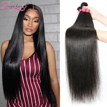 Longqi düz saç demetleri 30 inç doğal renk İnsan saç brezilyalı saç örgüleri demetleri 3 4 demetleri bakire saç örgüleri