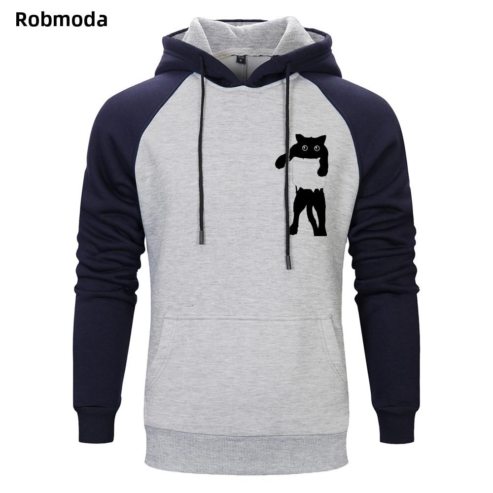 2019 Autumn and winter Funny Cat in Pocket Design Raglan hooded sweatshirt Men 39 s Animal Graphics Printed Tops Hipster hoodies in Hoodies amp Sweatshirts from Men 39 s Clothing