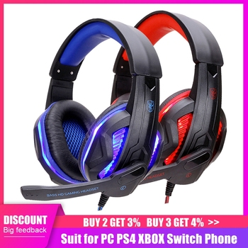 New Computer Gaming Headset PC Gamer Wired Headphone With Microphone 3.5 Jack USB Earphone LED Bass Cascos For Phone PS4 Laptop soyto stereo bass computer gaming headset headphone earphone with microphone for computer gamer with blue lights