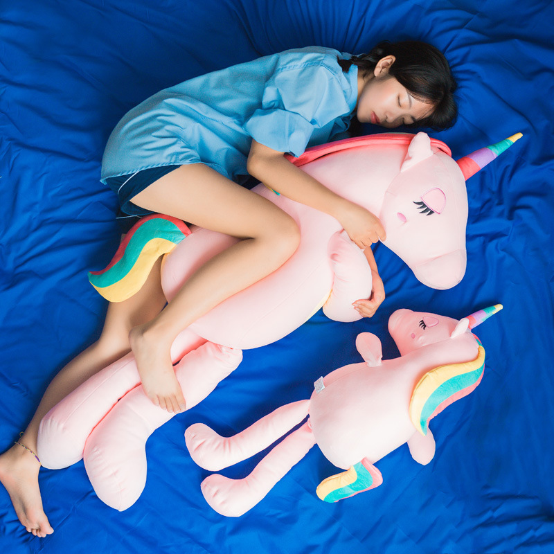 [Drôle] grande taille 150cm très mignon doux licorne cheval en peluche jouet sommeil poupée tenir oreiller décoration de la maison fille cadeau d'anniversaire