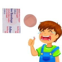 20 piezas de primeros auxilios para niños, kit de vendajes adhesivos de tirita redondos, transpirables, impermeables, diámetro de 2,2 cm, para acampar