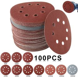 50/100pcs 125mm Round Shape Sanding Discs Sandpaper Eight Hole Disk Sand Sheets Grit 80-3000 Hook and Loop Sanding Disc Polis