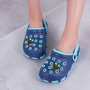Детские сабо с синими отверстиями, размер 24-39, летняя пляжная обувь для мальчиков и девочек, 2020