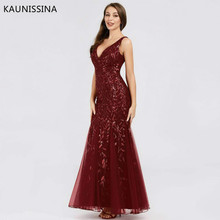 KAUNISSINA Long Evening Dress Mermaid Robe Women Maxi Sexy Sequined Straghetti Strap Floor Length Celebrity Party Gown Dresses