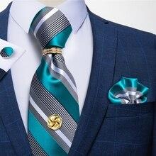 Мужские синие белые полосатые шелковые галстуки Hanky запонки Tack 8 см Официальный галстук подарок для мужчин Бизнес Свадьба Галстук DiBanGu