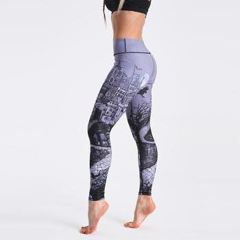 Qickitout 12% Spandex High Waist Digital Printed Fitness Leggings Push Up Sport GYM Leggings Women 9