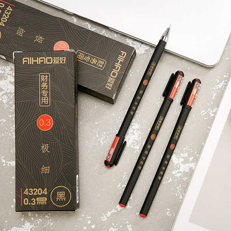 0.3mm siyah finans jel kalemler Kawaii çin zarif jel kalem yazma ofis okul malzemeleri Aihao kırtasiye