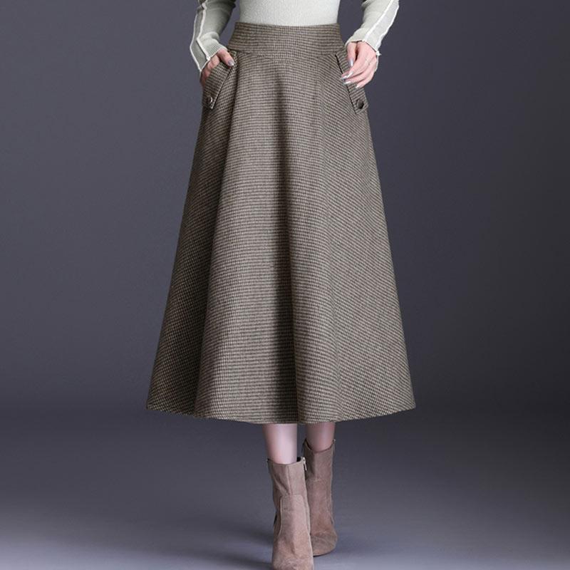 Winter Woolen Skirts Women 2019 High Waist Female Saia Plus Size S~3XL Vintage Plaid Midi A-Line Long Office Woman Wool Skirt