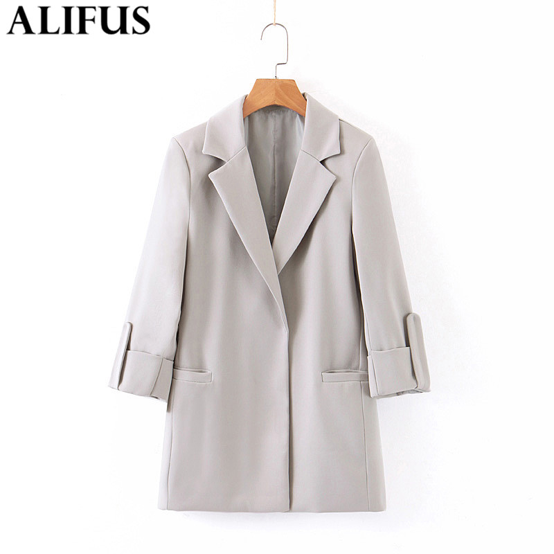 Fashion Za Women 2019 Vintage Notched Collar Office Lady Blazer Coat Pockets Long Sleeve Casual Outerwear Loose Female Ladies
