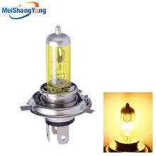 Farol de milha amarelo, h4 55w 12v 100w luzes para farol de carro lâmpada de halogênio alta potência estacionamento head auto 60/55w 3000k