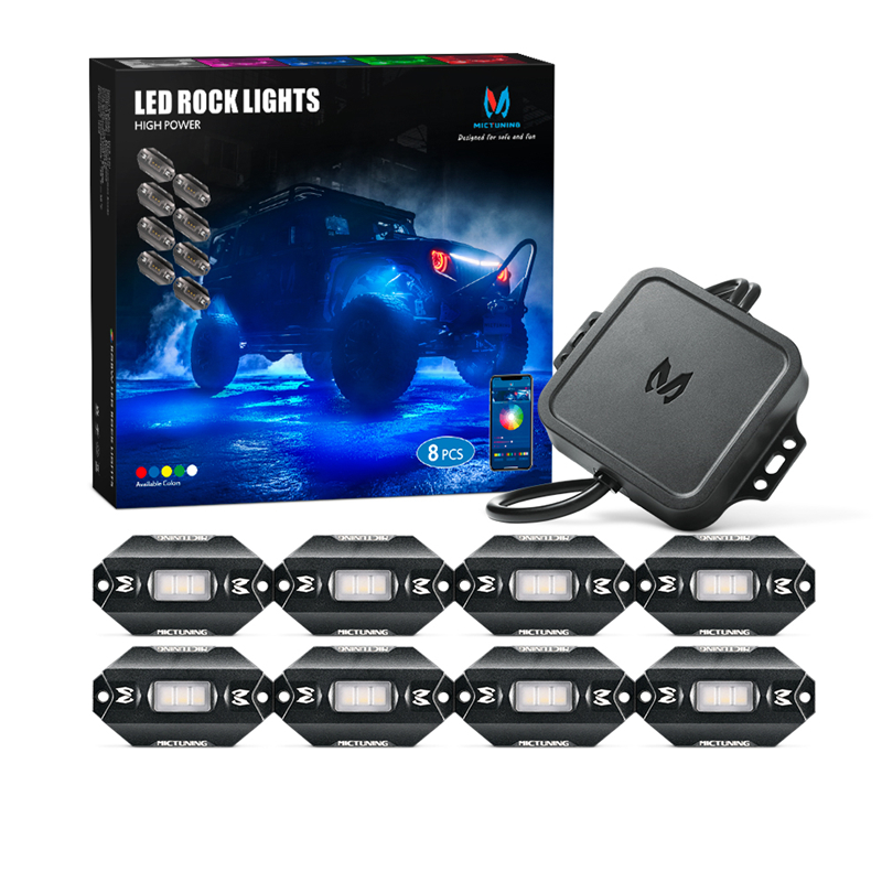 MICTUNING C1 8 Pods RGBW LED Rock Lights Remote Multicolor Underglow Neon Light Kit With Bluetooth Controller Music Mode