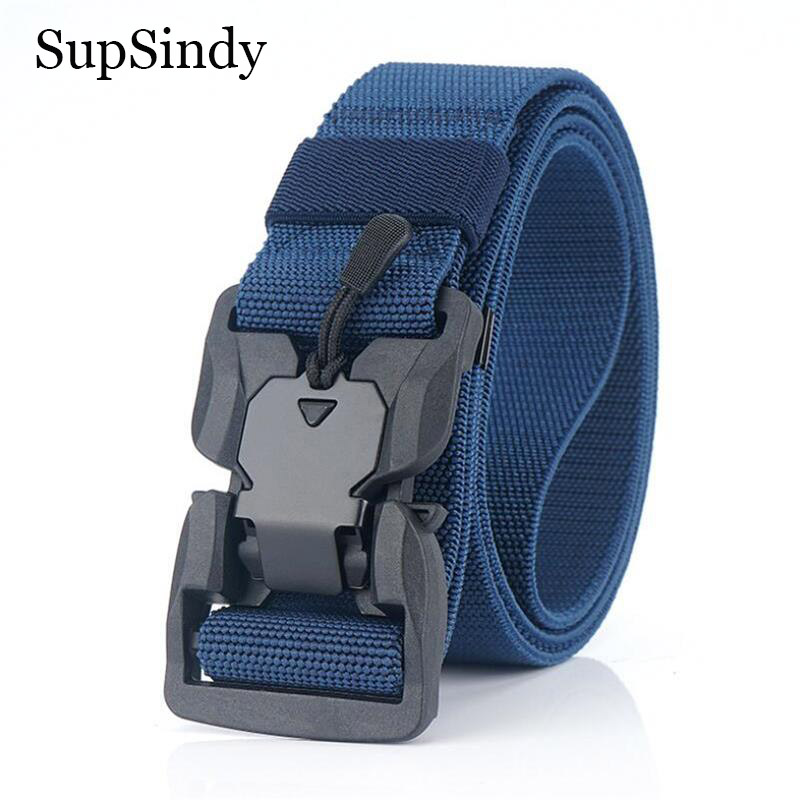 SupSindy Military Army Combat Tactical Belts For Men Quick Release Buckle Stretch Elastic Nylon Training Canvas Belt Male Strap
