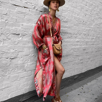 AYUALIN długie rękawy kimono długie sukienki damskie zakrywają Vintage satynowy czerwony kwiatowy nadruk jesień Vestidos boho boczne rozcięcie 2021 szata tanie i dobre opinie Floral W stylistyce młodzieżowej ARTYSTYCZNY POLIESTER CN (pochodzenie) Dla osób w wieku 18-35 lat Dobrze pasuje do rozmiaru wybierz swój normalny rozmiar