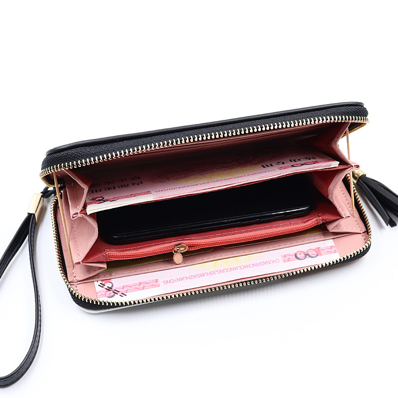 Women's Wallet with Zippered Wallet Card Holder Patchwork Women Long Wallet Ladies Tassel Short Coin Purse