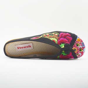 Image 5 - Veowalk夏女性の旧北京基本フラットスリッパ花刺繍カジュアル美しいスライドの綿の靴
