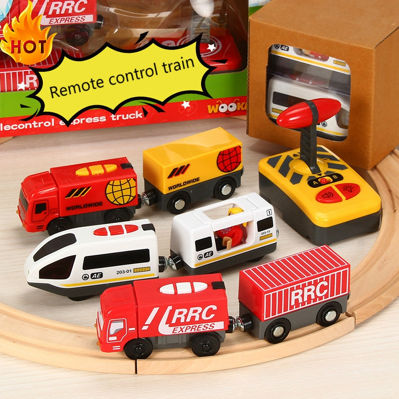 Remote Control RC Electric Small Train Toys Set Connected With Wooden Railway Track Interesting Present Toys Tor Children New