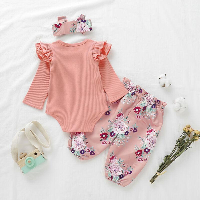 Ruffle Romper Bodysuit Newborn Kids Girls Knitted Crochet Floral Cardigan Coat