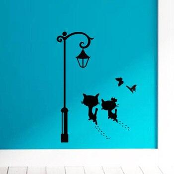 Cute Cat Walking Under The Street Light Wall Sticker Living Room Bedroom Cupboard Decoration Mural Art Decals Stickers Wallpaper