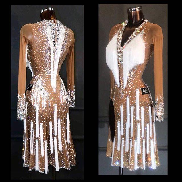 Latin Dance Dress Latin Costume Dancing Dress Beigeand  White  Fringes Sheer Mesh Fabric Sexy Dancing Wear