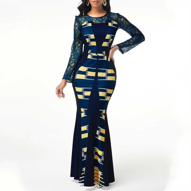 African Dress For Women 2020 Casual Plus Size Slim Patchwork Lace Maxi Dresses Elegant Sexy Long Dress 5XL 4XL Africa Clothing