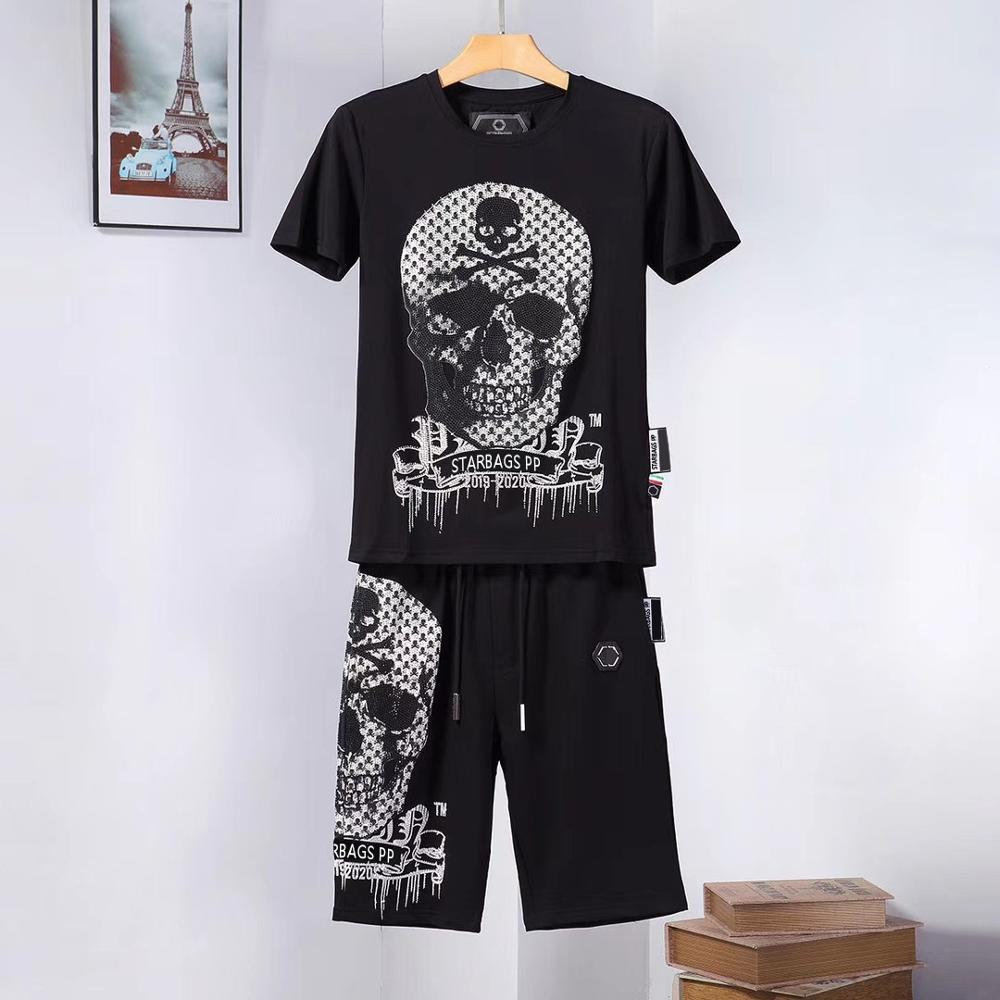 Starbags PP Summer Fashion Collection Diamond Personality Skull Cool Casual Short Sleeve T-Shirt Short Pants Men's Suit Original