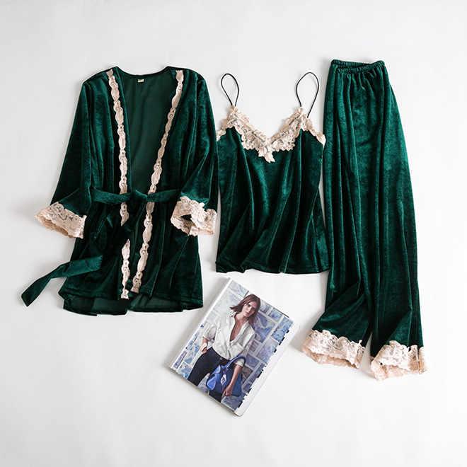 Verde veludo pijamas terno senhora 4 pçs pijamas camisa & calças sono definir outono quente robe vestido de noite veludo pijamas casa roupas