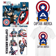 Superhero Patch Iron-on Transfers Captain America Patches for Clothing DIY Applique Heat Transfer Vinyl Stickers Clothes