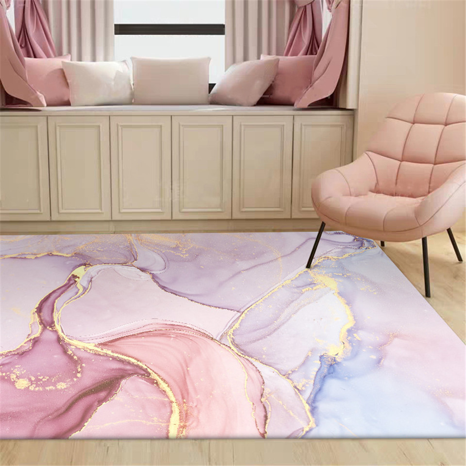 Wishstar Pink Gold Oil Painting Abstract Carpet Girls Room Romantic Purple 3D Rugs Bedroom Beside Carpet Balcony Rug Hall Mat