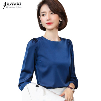 White Shirt Women 2021 Spring New Fashion O Neck Long Sleeve Chiffon Blouses Office Ladies Bottoming Work Tops Navy Blue 1