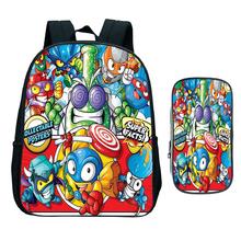 Dzieci nowy Super Zings plecak przedszkolny dziecko Superzings torba do szkoły podstawowej Bookbag dzieci prezent (2 szt Zestaw plecak pokrowiec na długopis) tanie tanio NYLON Tłoczenie Unisex Miękka Poniżej 20 litr Miękki uchwyt NONE zipper Łukowaty pasek na ramię backpack Poliester